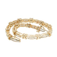 "2.00 Carat Diamond Gold ""X"" Hinged Link Gold Bracelet"