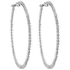 4.22 Carat Diamond Single Shared Prong Hoop Earrings
