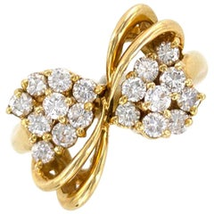 Diamond 18 Karat Yellow Gold Vintage Bow Ring
