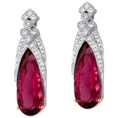 Rubellite Tourmaline Diamond and White Gold Statement Earrings