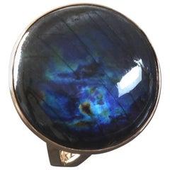 1970s Kaunis Koru Scandinavian Modernist Spectrolite Labradorite Gold Ring