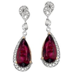 Rubellite Tourmaline Diamond and White Gold Drop Earrings