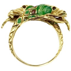 14 Karat Two Headed Snake Bypass Enamel Ring, circa 1960s