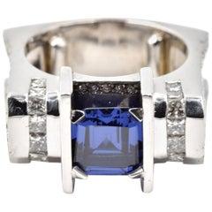 2.75 Carat Tanzanite and Diamond 14 Karat White Gold Ring