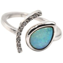 14 Karat White Gold Opal and Diamond Ring
