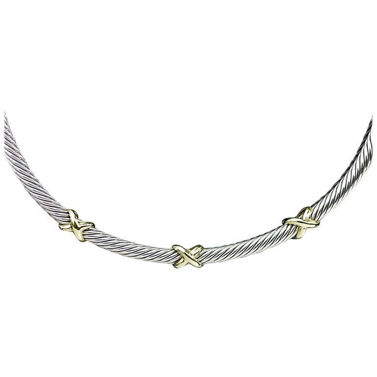 David Yurman Gold and Silver Cable Classic Triple X Collar Necklace