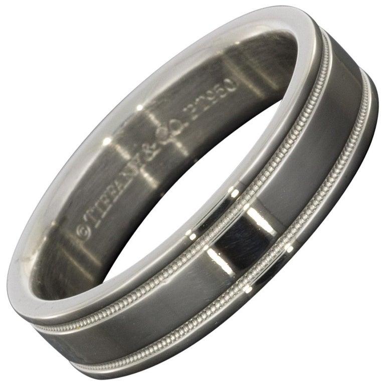 Platinum Double Milgrain 6mm Wide Flat Wedding Band Ring: Tiffany And Co. Milgrain Wedding Band Ring In Platinum 2