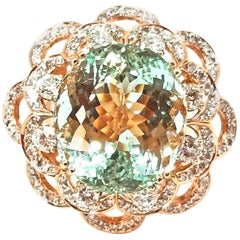 19.07 Carat Brazilian Aquamarine Diamond Tiered Cocktail Ring Rose Gold