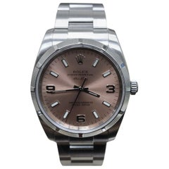 Rolex Air King 114210 Stainless Steel Pink Dial Box and Papers