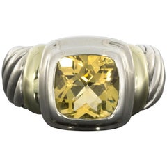 David Yurman Noblesse 14 Karat Gold and Silver Cushion Cut Citrine Cable Ring