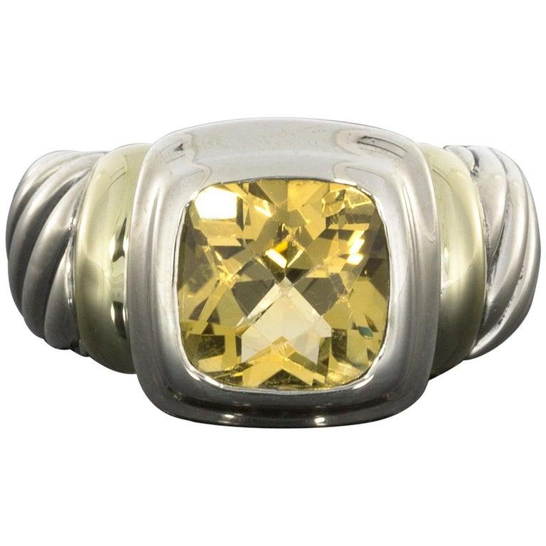 David Yurman Noblesse 14 Karat Gold and Silver Cushion Cut Citrine Cable Ring