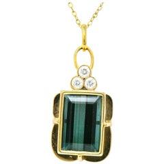 12.40 Carat Indicolite Tourmaline Diamond 14 Karat Pendant Necklace