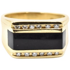 Onyx and 14 Karat Yellow Gold Diamond Ring