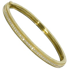 Penny Preville 18 Karat Yellow Gold Diamond Engraved Bangle Bracelet