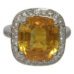 Natural Yellow Sapphire and Diamonds Ring
