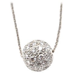 1.46 Carat Diamond 14 Karat White Gold Ball Necklace
