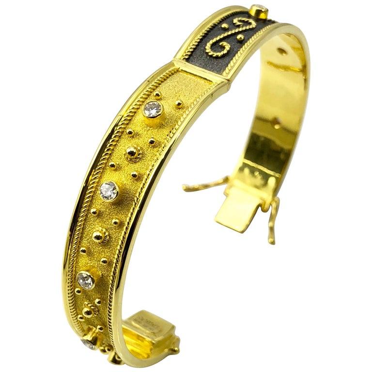 Georgios Collections 18 Karat Yellow Gold Diamond Bracelet Byzantine Workmanship