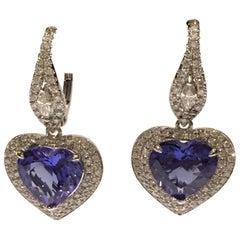 Heart Shape Tanzanite 6.55 Carat and 1.11 Carat Diamond Set in 14 Karat Gold
