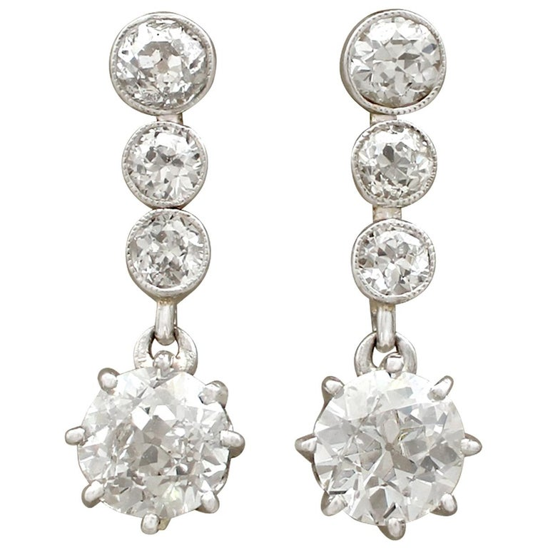 Antique 1920s Diamond and Yellow Gold Drop Earrings