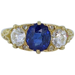 Victorian Antique 1.28 Carat Sapphire, 0.85 Carat Diamond Ring, Yellow Gold