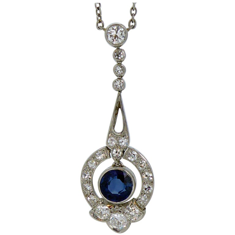 Art Deco Sapphire Diamond Pendant, circa 1920s