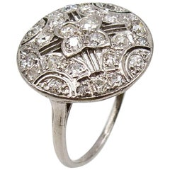 Edwardian Filigree Platinum Diamond Ring
