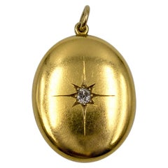 Victorian 15 Karat Gold Diamond Oval Locket