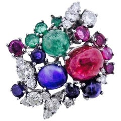 Stunning Art Deco G/Vs Diamond Sapphire Ruby Emerald Brooch Pin Necklace Pendant