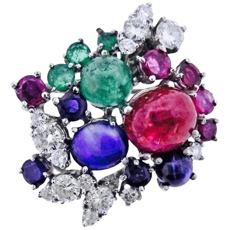Stunning Art Deco G/Vs Diamond Sapphire Ruby Emerald Brooch Pin Necklace Pendant