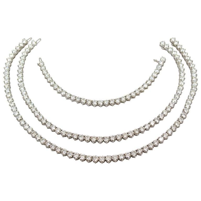 Gold Diamond Riviere Tennis Necklace and Bracelet Suite