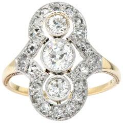 Victorian 1.25 Carat Diamond Platinum-Topped 14 Karat Gold Dinner Ring Signed