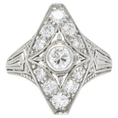 Ornate Art Deco 0.75 Carat Diamond Platinum Dinner Ring