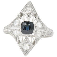 Edwardian 1.25 Carat Total Sapphire Diamond Platinum Dinner Ring