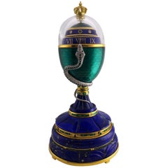 Faberge Enamel, Diamond and Emerald Limited Edition Serpent Egg with Certificate