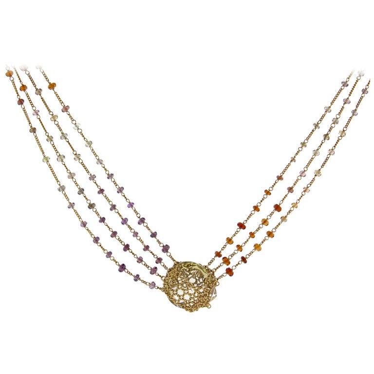 Anthony Nak Lemon Citrine Multi-Chain Necklace