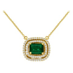 "1.00 Carat Emerald and Diamond Pendant Set ""East West"" in 14 Karat Yellow Gold"