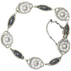 Art Deco 0.30 Carat Diamond Camphor Glass Enamel Platinum-Topped Bracelet