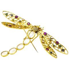 Alluring Large Multi-Gem Diamond Moonstone 18 Karat Gold Dragonfly Brooch
