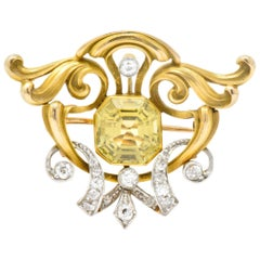 Art Nouveau 2.85 Carat Heliodor Diamond Platinum 14 Karat Gold Brooch