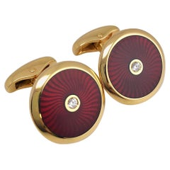 Faberge 18 Karat Rose Gold and Red Enamel Cufflinks with Certificate