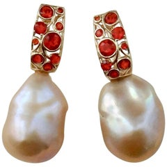 Michael Kneebone Mexican Fire Opal Baroque Pearl Drop Earrings