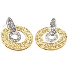 1.00 Carat Diamond 14 Karat Two-Tone Gold Circle Earrings