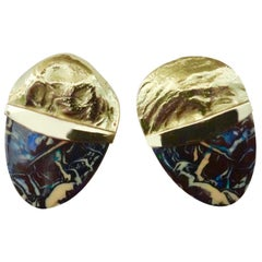 Michael Kneebone Boulder Opal Jingle 18 Karat Gold Earrings