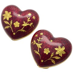 Faberge 18 Karat Yellow Gold and Red Enamel Heart Earrings with Certificate