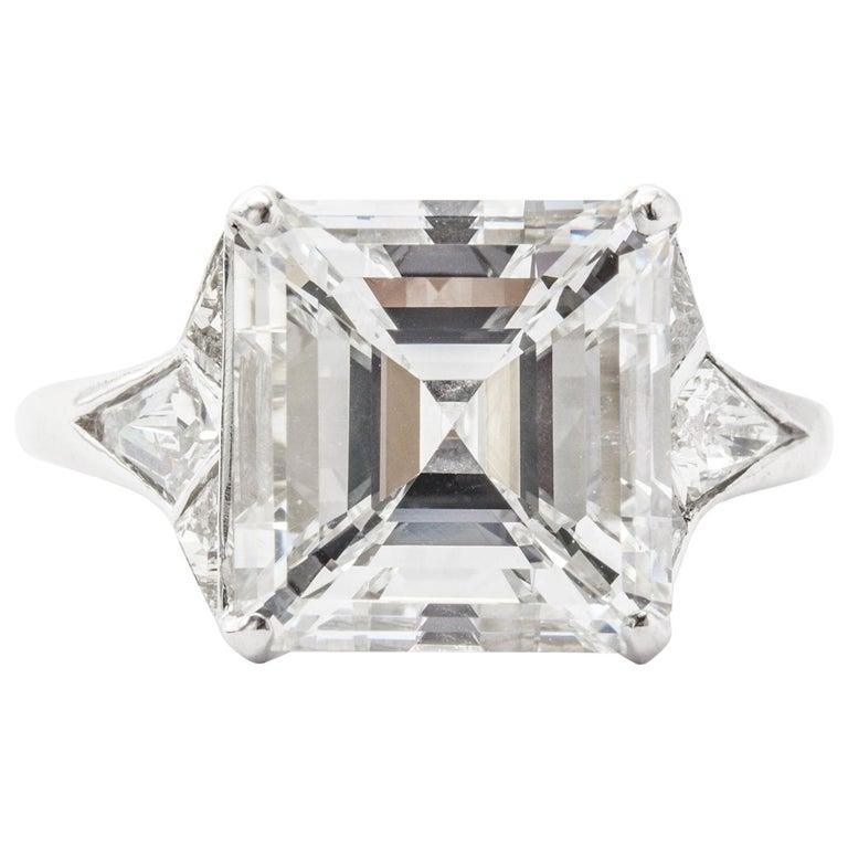 GIA Certified 5.01 E VS2 Asscher Cut Diamond Engagement Ring