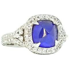 4.05 Carat Blue Sugarloaf Cushion Sapphire Diamond Deco Style Ring White Gold