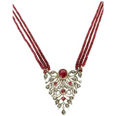 Indian Mogul Style Gold Open Worked Pendant Set with Diamonds and Rubies