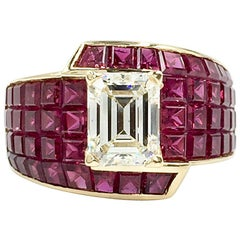 1.65 Carat Emerald Cut Diamond and Ruby 18 Karat Gold Cocktail Ring