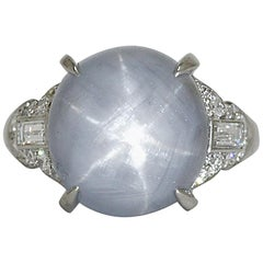21.68 Carat Cabochon Star Sapphire Diamond Platinum Art Deco Dome Cocktail Ring