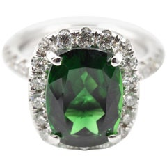 5.25 Carat Chrome Tourmaline and Diamond 18 Karat White Gold Ring